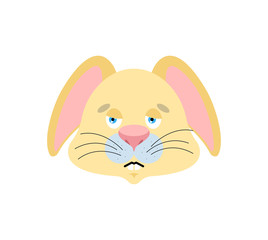 Rabbit sad emoji. Hare sorrowful emotions. Animal dull. Vector illustration
