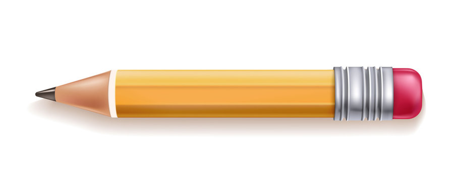 Vector realistic yellow wood pencil rubber eraser