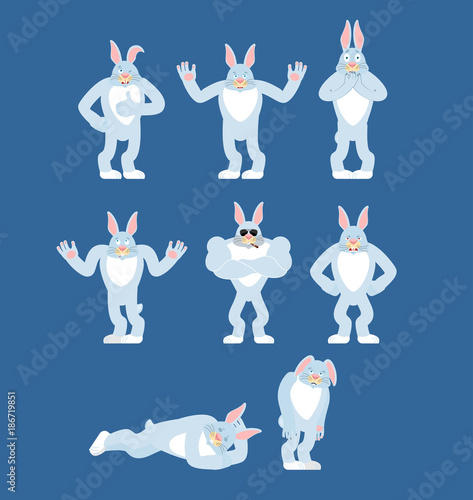 Rabbit set poses and motion. Hare happy and yoga. Animal sleeping and angry.  guilty and sad. Vector illustration 40361f741c74
