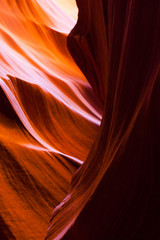 Lower Antelope Sandstone Beauty. Colorful red and orange sandstone formations inside lower antelope canyon, Arizona