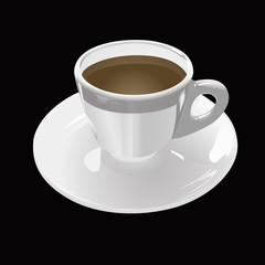 white cup of coffee on a black background