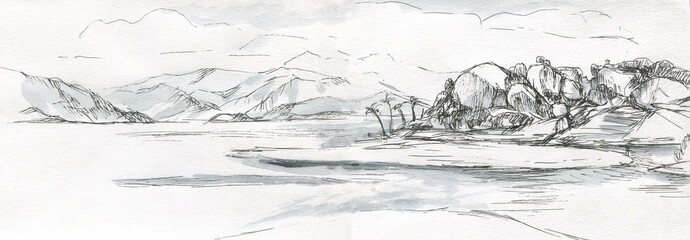 island on the sea sketch