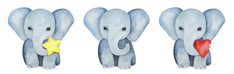Set of three little baby elephants. Holding yellow star, red heart and without object. Cute character, childhood element, grey color, front view, standing pose. Hand drawn water color illustration.