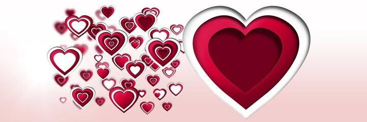 Layered Valentines hearts