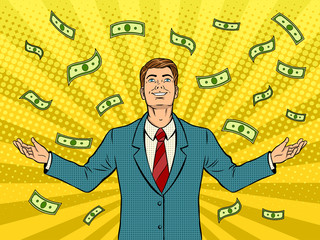 Businessman and money rain pop art vector