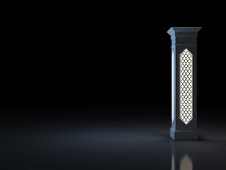 Beautiful luminous column in the Arab style in a dark room. 3D Illustration