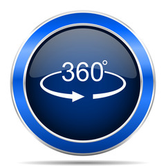 Panorama 360 vector icon. Modern design blue silver metallic glossy web and mobile applications button in eps 10