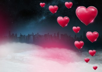 Shiny bubbly Valentines hearts with city misty background
