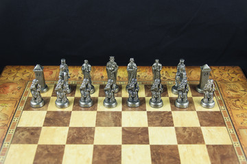 White chess pieces of medieval chess