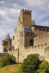 Fortified wall of Carcassonne, Occitanie, France.