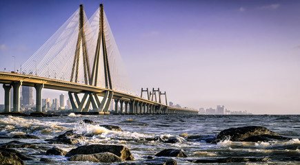 Bandra Worli Sea Link as viewed from Bandstand
