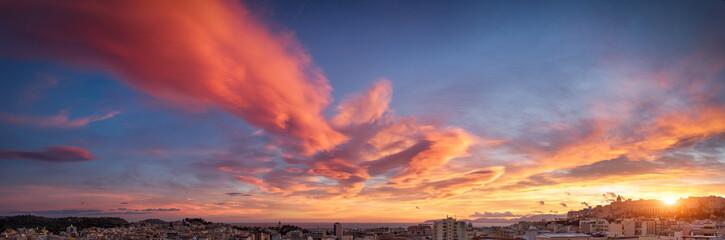 Colorful sunset over the city of Cagliari, Sardinia.