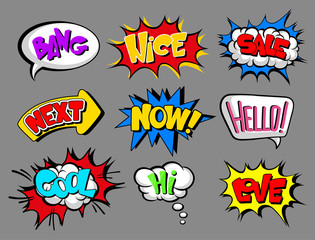 Comic speech bubbles with text set, bang, nice, sale, next, now, hello, cool, love, hi, sound effect cloud vector Illustrations