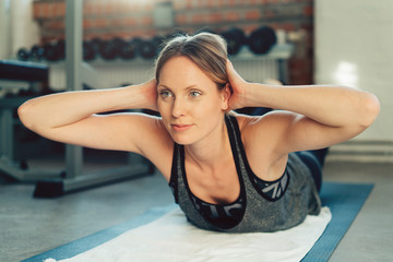 Fit active lifestyle concept doing exercises