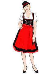 Girl in German national costume standing front side, vector drawing portrait. A blonde woman full-length with pigtail and cap, in old traditional dress with an apron, isolated on white background