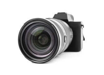 Digital photo camera isolated on white.