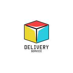 Box logo logistic delivery service icon isometric cube shape, package gift product emblem design template, business transportation company symbol