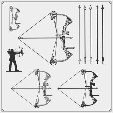 Set of archery sports emblems, labels and design elements. Vector illustration.