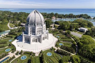 Baha'i Temple and Lake Michigan
