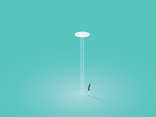 Business corporate ladder vector concept symbol with businesswoman climbing on ladder through hole. Symbol of success, hope, ambition, equality.