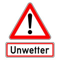 ncsc1 NewCombinationSignCaution ncsc - Achtung Ausrufezeichen Unwetterwarnung / dreieckig - Wetterkennzeichnung mit Text: Unwetter - quadrat xxl schwarz rot - g5780