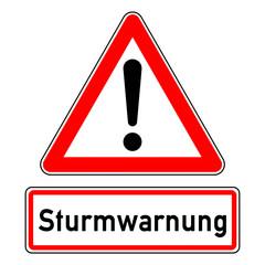 ncsc2 NewCombinationSignCaution ncsc - Achtung Ausrufezeichen Unwetterwarnung / dreieckig - Wetterkennzeichnung mit Text: Sturmwarnung - quadrat xxl schwarz rot - g5781