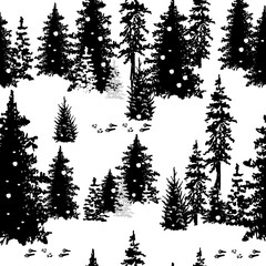 Seamless pattern with silhouettes of trees