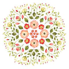 Watercolor floral mandala