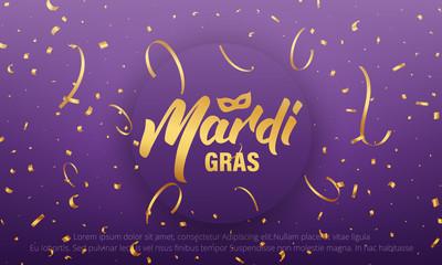 Mardi Gras. Background with Mardi Gras lettering and gold shiny confetti