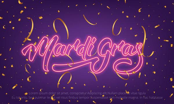 Mardi Gras. Background with Mardi Gras neon lettering and gold confetti