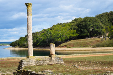Ruins of Roman Villa in Brijuni Island in Croatia.