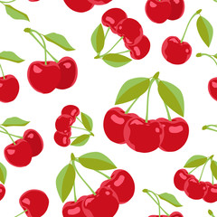 Cherry seamless pattern. Vector texture for textile, wrapping, wallpapers and other surfaces. Flat vector.