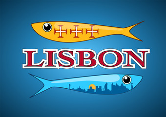Two ornamental sardines with portuguese patterns fill; including Lisbon skyline and text label. Vector illustration