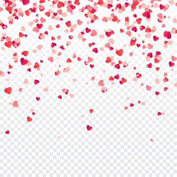 Heart confetti. Valentines, Womens, Mothers day background with falling red and pink paper hearts, petals. Greeting wedding card. February 14, love.Transparent background.