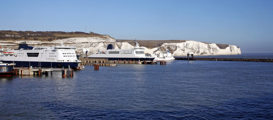 ferries and white cliffs in dover
