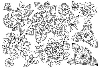Set of black and white flowers for adult coloring book. Vector