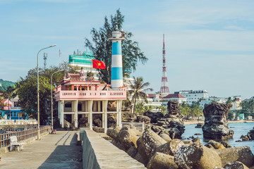 Dinh Cau lighthouse symbol of the island Phu Quoc, Vietnam. Phu Quoc is a Vietnamese island off the coast of Cambodia in the Gulf of Thailand