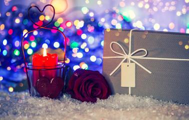 Valentinstag Karte Rose Kerze Geschenk