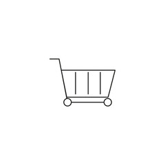 Shopping cart, gurney in supermarket isolated flat web mobile icon. Vector graphic illustration. Logotype, logo