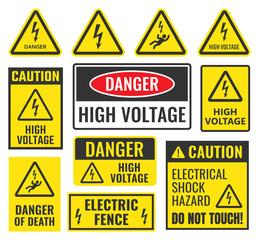 danger high voltage signs set, vector illustration