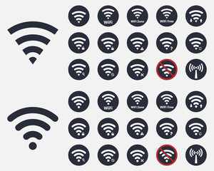 wifi icons and signs set, wireless signal