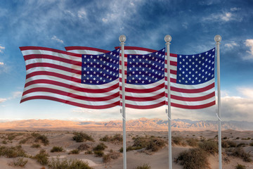 USA flags in the sky with a desert background