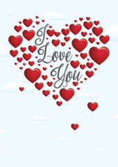Message I love you with red heart-shaped balloons floating on background of white clouds. The balloons are forming a heart. Vector image