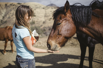 Side view of young woman feeding horse at barn