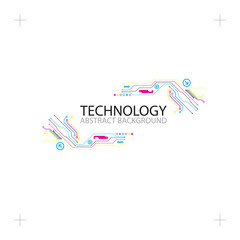 Abstract technological background with various elements. CMYK concept.