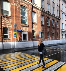 Pretty woman walking down the street