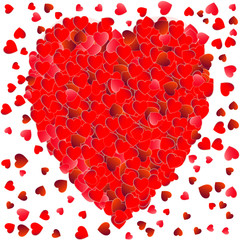red large hearts in the middle and small red heart pattern on the edge vector