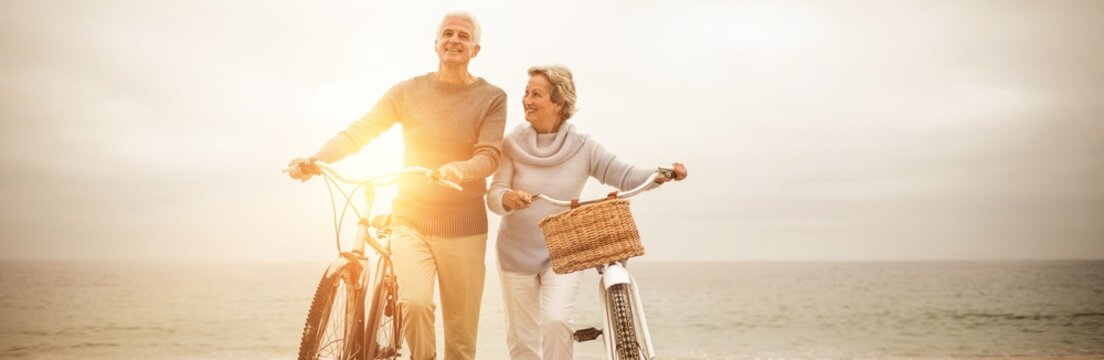 Senior couple with their bicycles