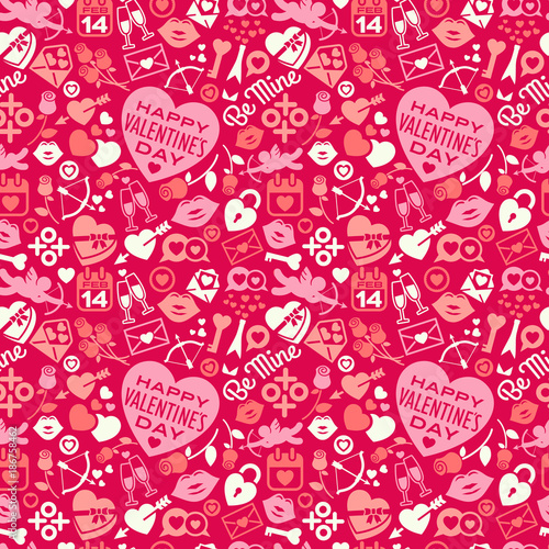 Seamless Pattern Of Scattered Valentine S Day Icons Hearts And