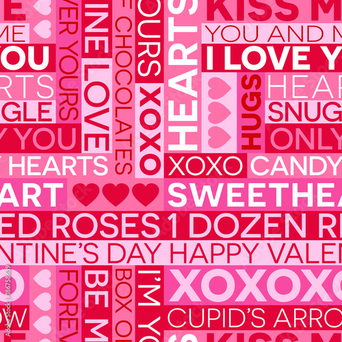 Seamless Valentine S Day Typography Pattern Of Romantic Words